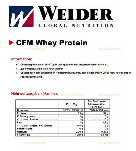 Nährwerte Weider CFM Whey Protein